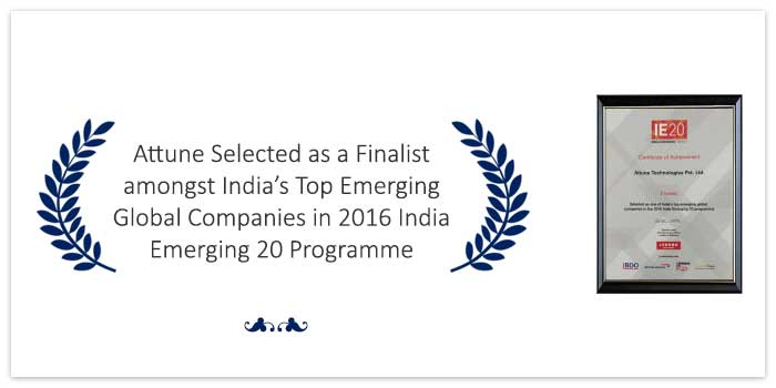 Attune Selected as a Finalist amongst India's Top Emerging Global Companies in 2016 India Emerging 20 Programme